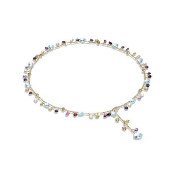 Paradise Collection Blue Topaz and Mixed Gemstone Lariat Necklace