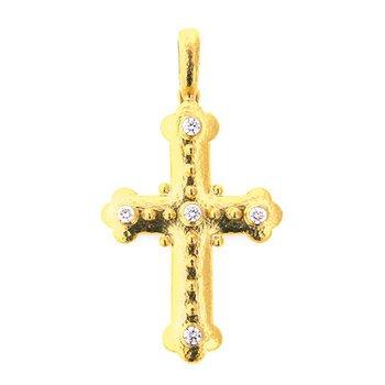 Byzantine Cross with Diamonds Pendant