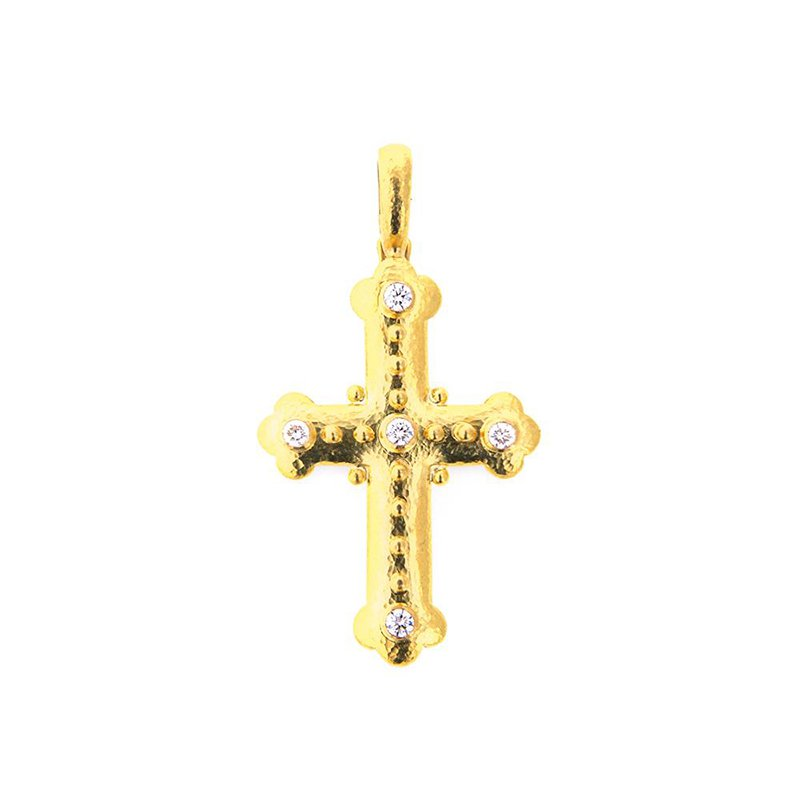 Elizabeth Locke Byzantine Cross with Diamonds Pendant
