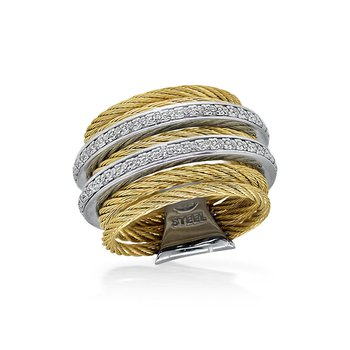 Yellow 7 Row Cable Ring with Diamonds