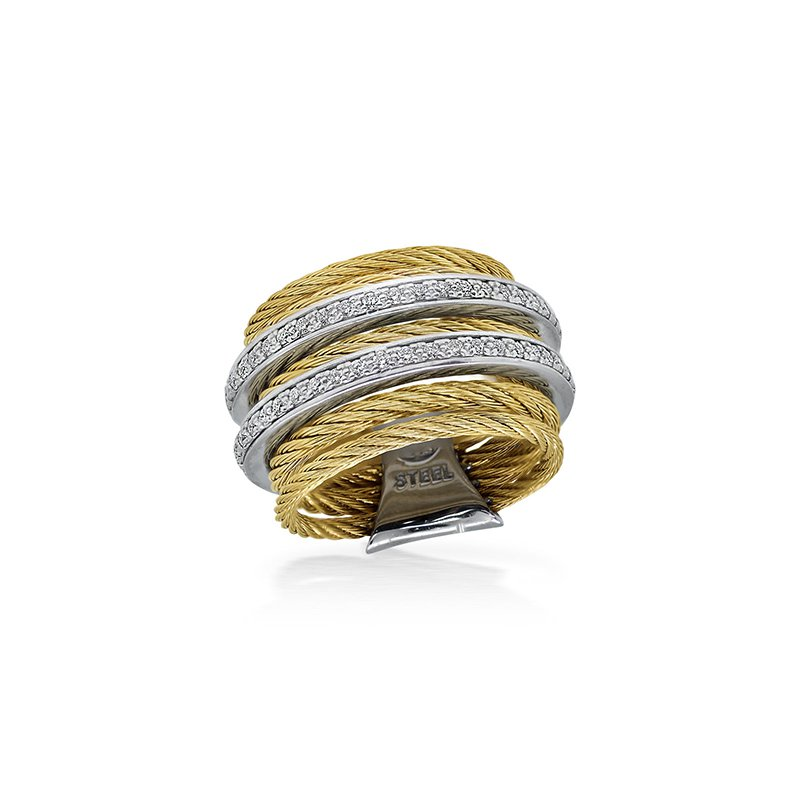 ALOR Yellow 7 Row Cable Ring with Diamonds