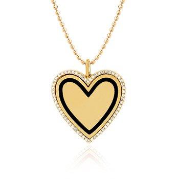 Diamond & Black Enamel Heart Necklace