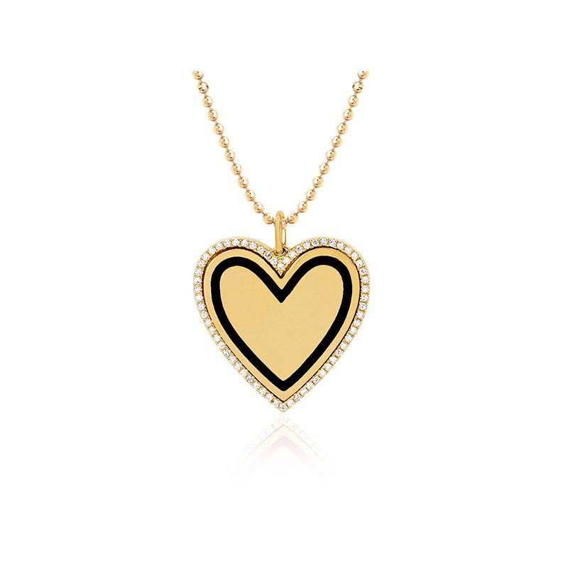 EF Collection Diamond & Black Enamel Heart Necklace