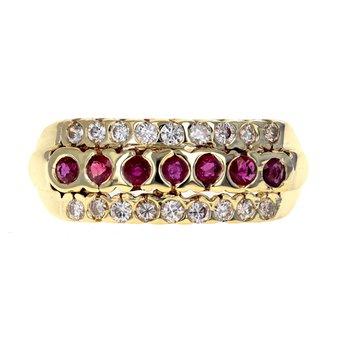 Diamond & Ruby Three Row Ring