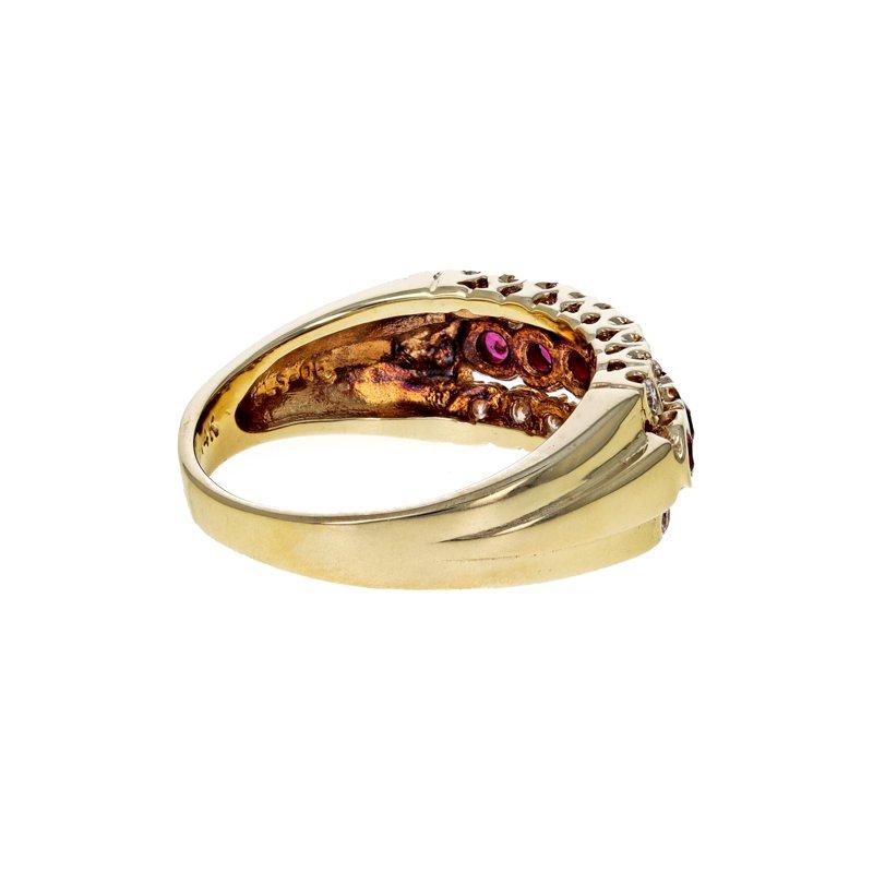 Estate Radcliffe Diamond & Ruby Three Row Ring