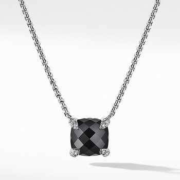Chatelaine Pendant Necklace with Black Onyx and Diamonds