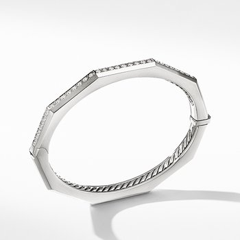 Stax Faceted Bracelet with Diamonds, 5.5mm