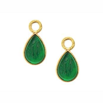 "Pine Green ""Small Pear Shape"" Earring Pendants"