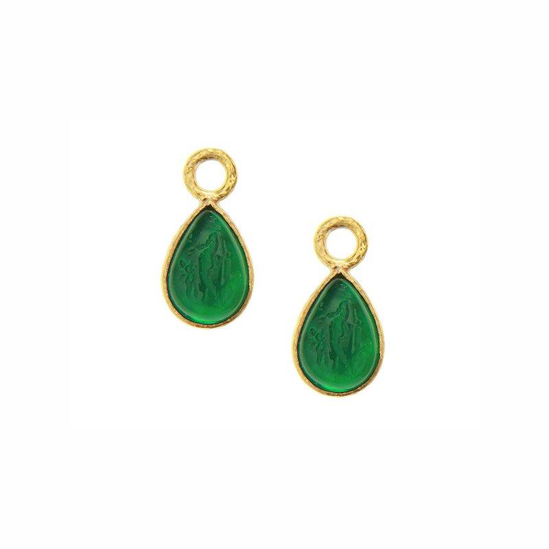 """Elizabeth Locke Pine Green """"Small Pear Shape"""" Earring Pendants"""