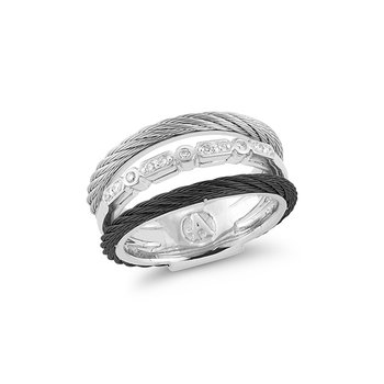 Layered Black & Grey Cable Ring