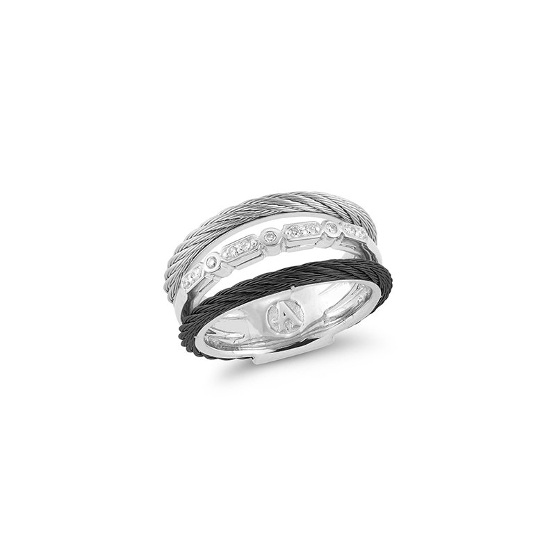 ALOR Layered Black & Grey Cable Ring