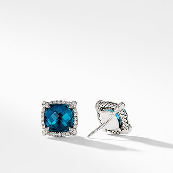 Chatelaine Pave Bezel Stud Earring with Hampton Blue Topaz and Diamonds, 9mm