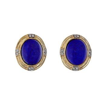 Oval Lapis & Diamond Earrings