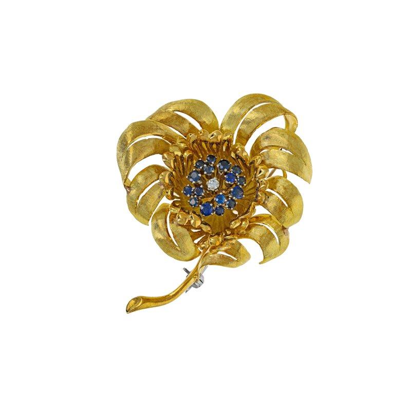 Estate Radcliffe Diamond & Sapphire Flower Brooch