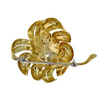Diamond & Sapphire Flower Brooch