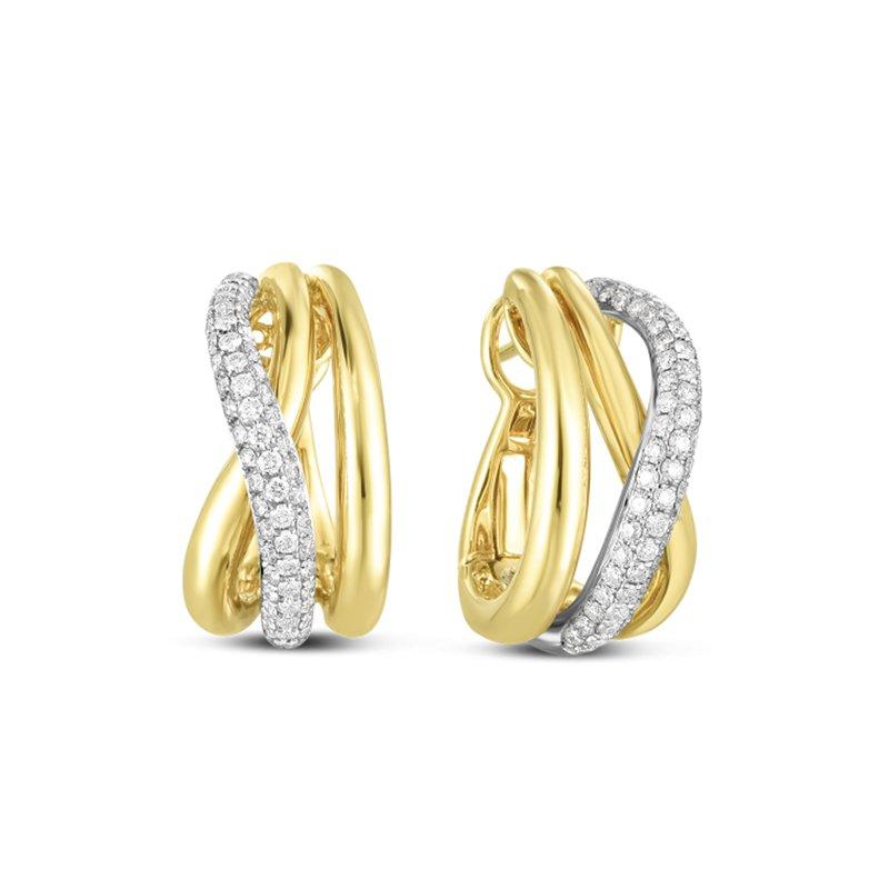 Roberto Coin Crossover Diamond Hoop Earrings