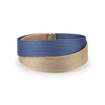 Blueberry & Carnation Cable Crossed Wrap Bracelet