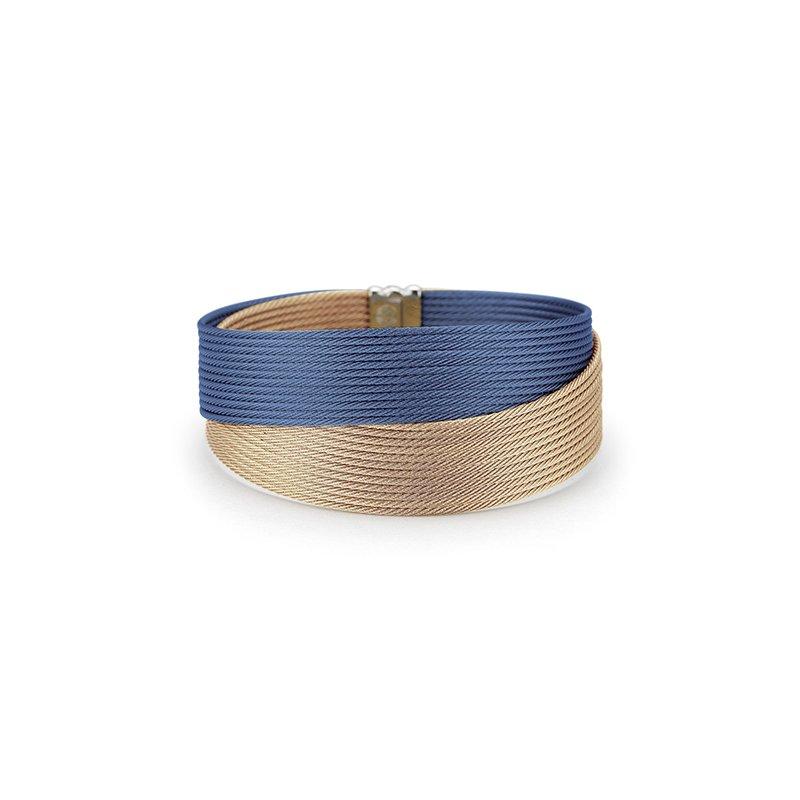 ALOR Blueberry & Carnation Cable Crossed Wrap Bracelet