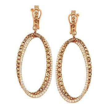 Diamond Oval Drop Earrings