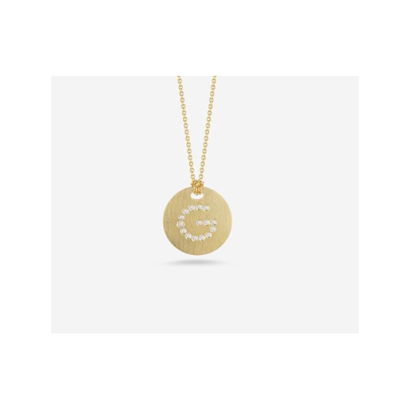 "Roberto Coin Disc Pendant with Diamond Initial ""G"""