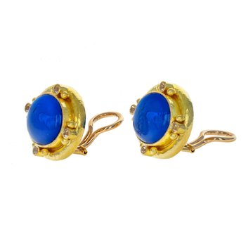 Venetian Glass & Moonstone Earrings