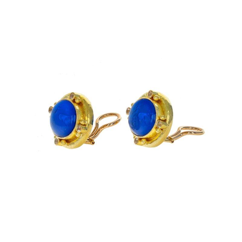 Estate Elizabeth Locke Venetian Glass & Moonstone Earrings