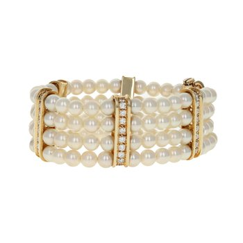 Four Strand Pearl & DIamond Bracelet