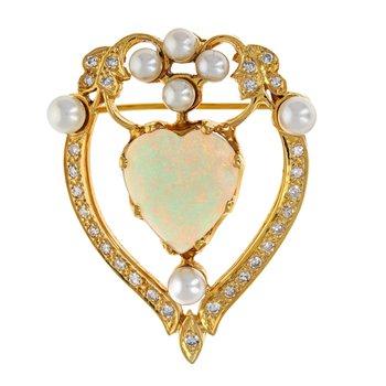 Pearl, Diamond & Opal Heart Pendant