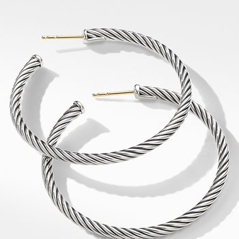 Medium Cable Hoop Earrings