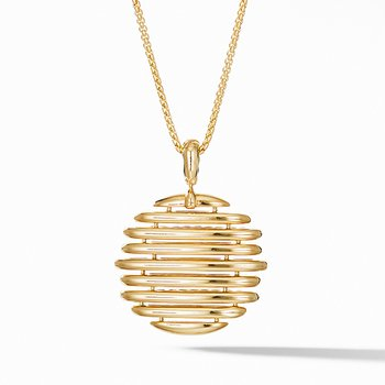 Tides Pendant Necklace in 18K Yellow Gold with Pave Diamonds