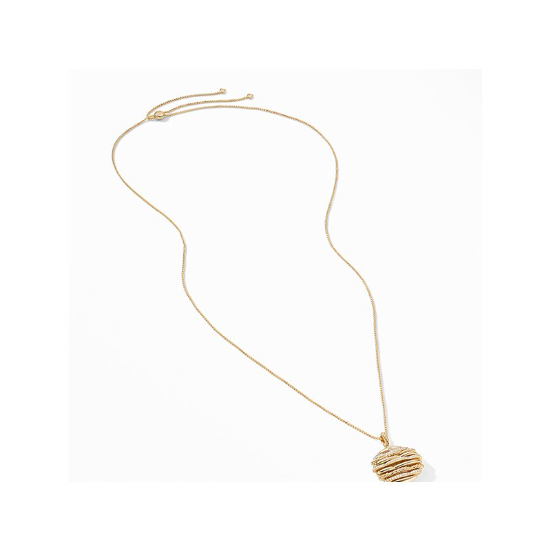 David Yurman Tides Pendant Necklace in 18K Yellow Gold with Pave Diamonds