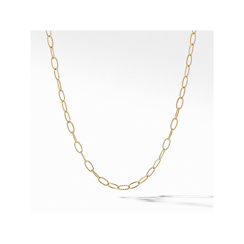 David Yurman Stax Elongated Oval Link Necklace in 18K Yellow Gold