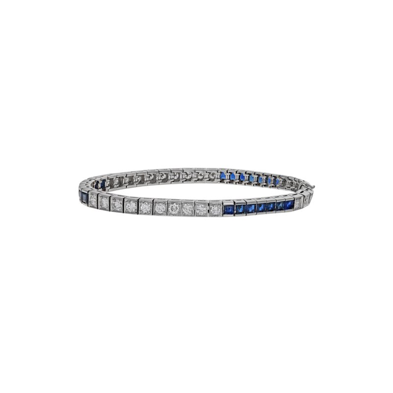 Estate Radcliffe Art Deco Diamond & Sapphire Bracelet