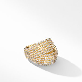DY Origami Crossover Ring in 18K Yellow Gold with Diamonds
