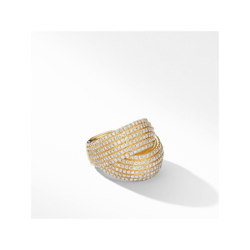 David Yurman DY Origami Crossover Ring in 18K Yellow Gold with Diamonds