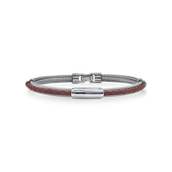 Grey Cable & Burgundy Leather Bracelet with Slim Steel Station