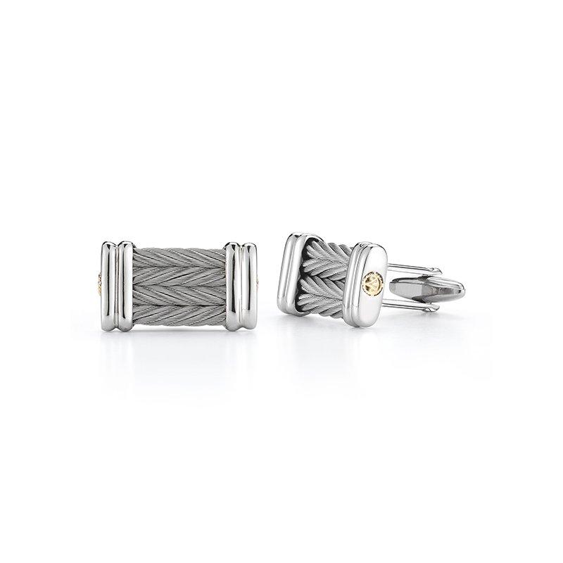 ALOR Grey Cable Signature Cuff Links