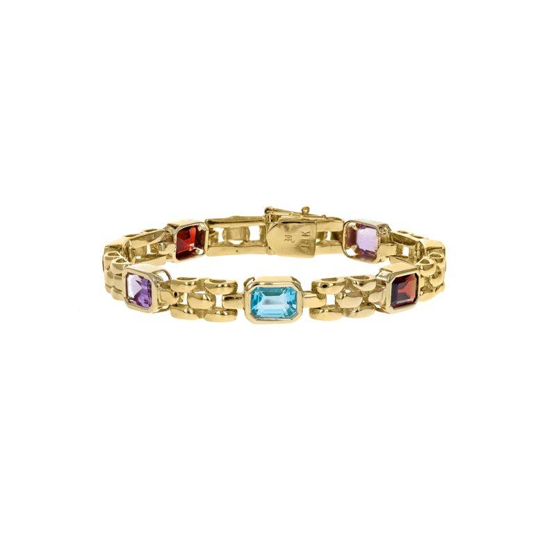 Estate Radcliffe Gemstone Panther Link Bracelet