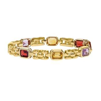 Gemstone Panther Link Bracelet