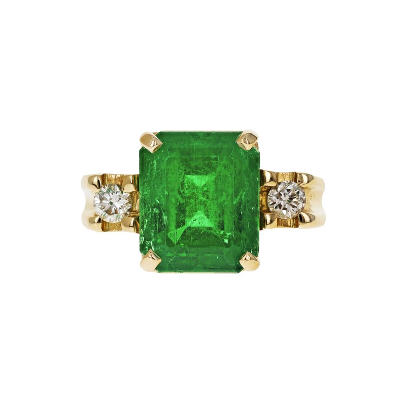 Estate Radcliffe Emerald & Diamond Ring
