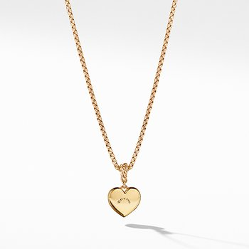 Compass Heart Pendant in 18K Yellow Gold with Diamonds