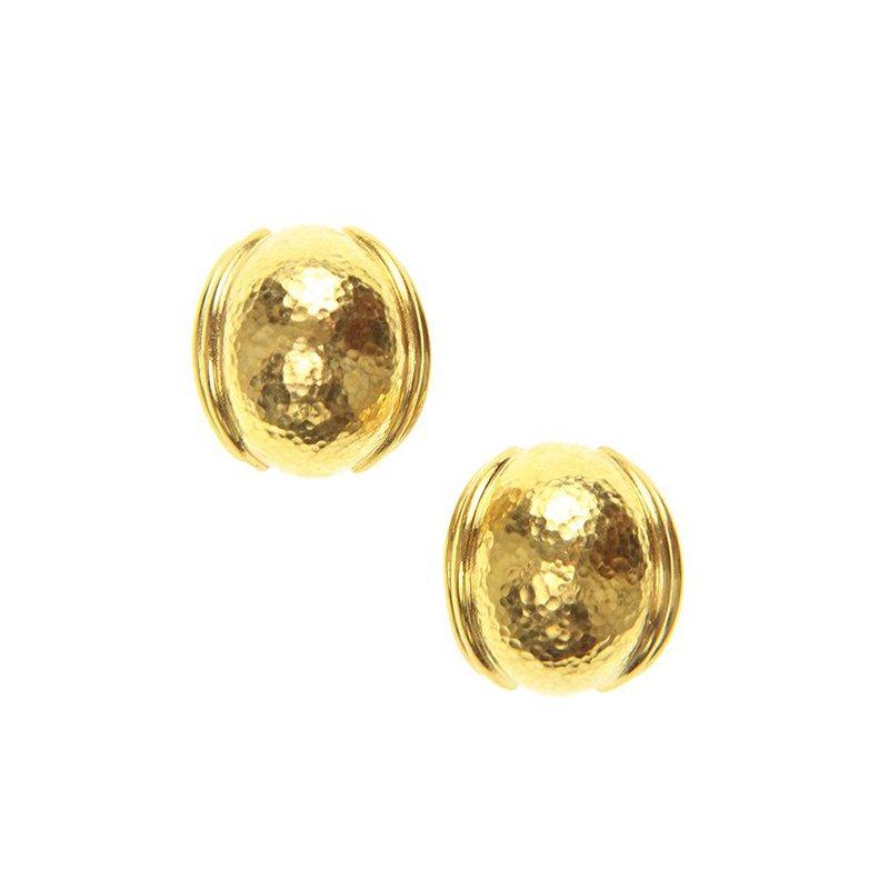Elizabeth Locke Small Gold Puff Earrings