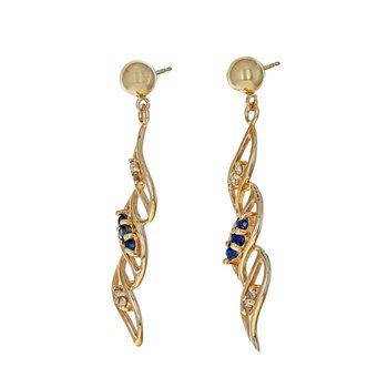 Diamond & Sapphire Swirl Drop Earrings