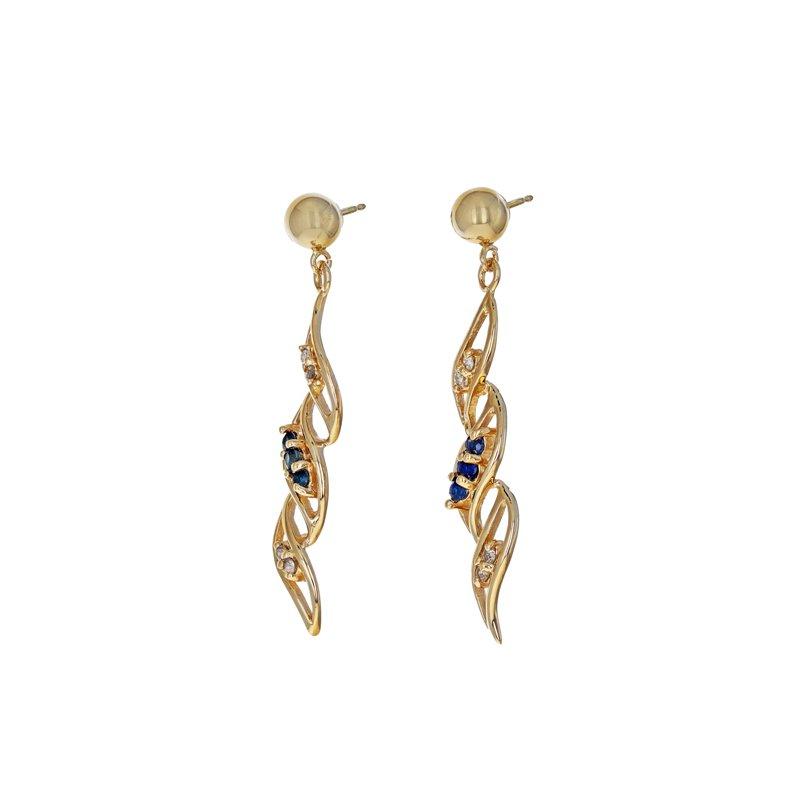 Estate Radcliffe Diamond & Sapphire Swirl Drop Earrings