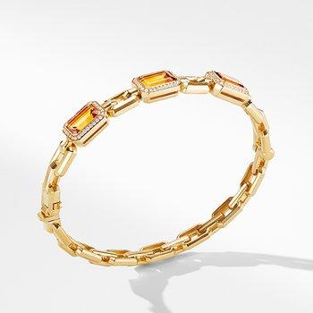 Novella Three Stone Bracelet in 18K Yellow Gold with Madeira Citrine and Diamonds