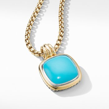 Albion Pendant with Reconstituted Turquoise and 18K Yellow Gold