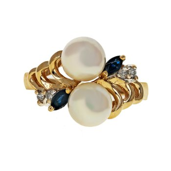 Pearl, Sapphire, & Diamond Bypass Ring