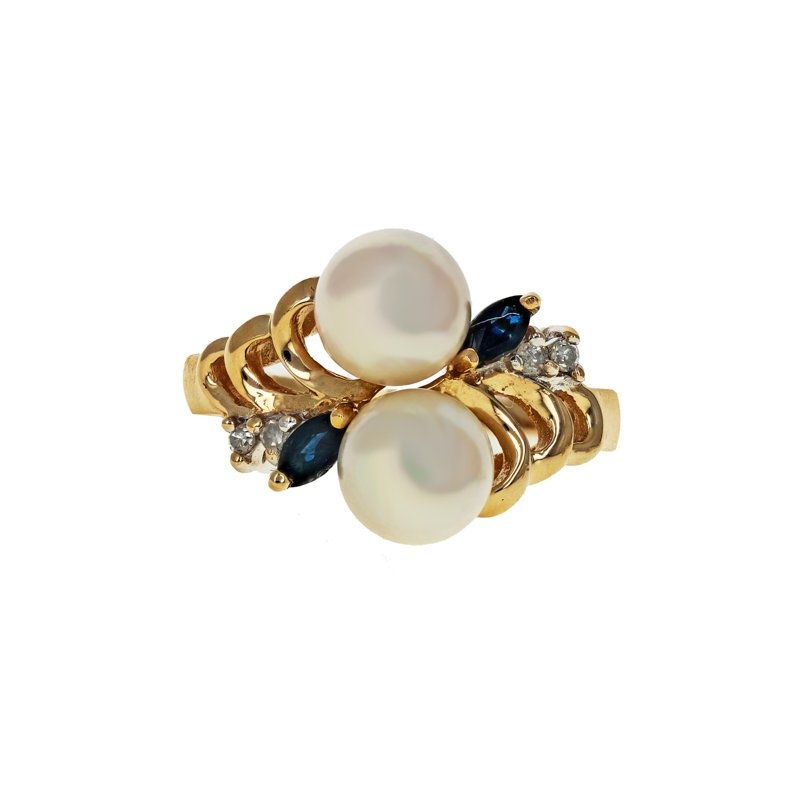 Estate Radcliffe Pearl, Sapphire, & Diamond Bypass Ring