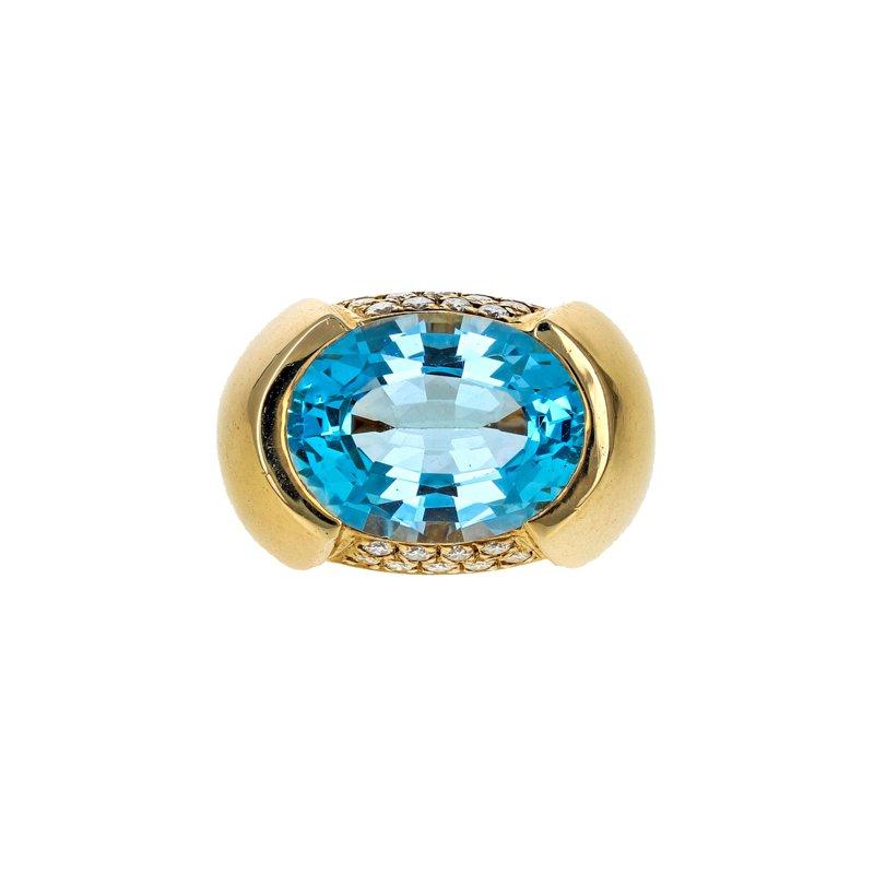 Estate Radcliffe Blue Topaz & Diamond Cocktail Ring