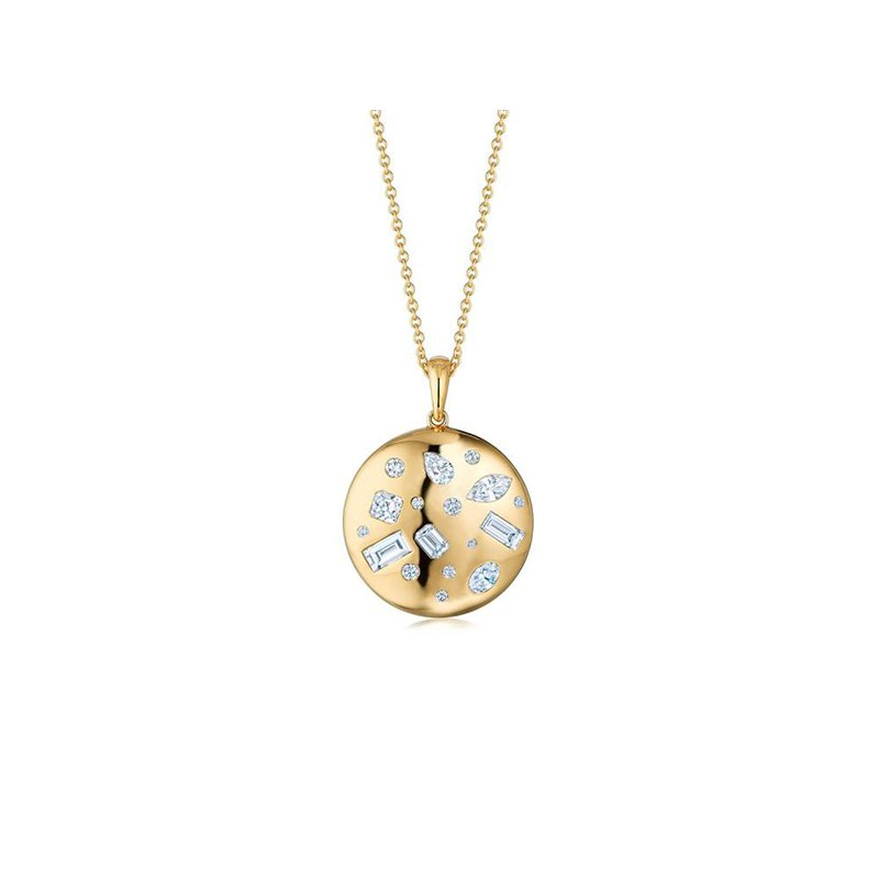 Kwiat Cobblestone Round Pendant with Diamond Accents